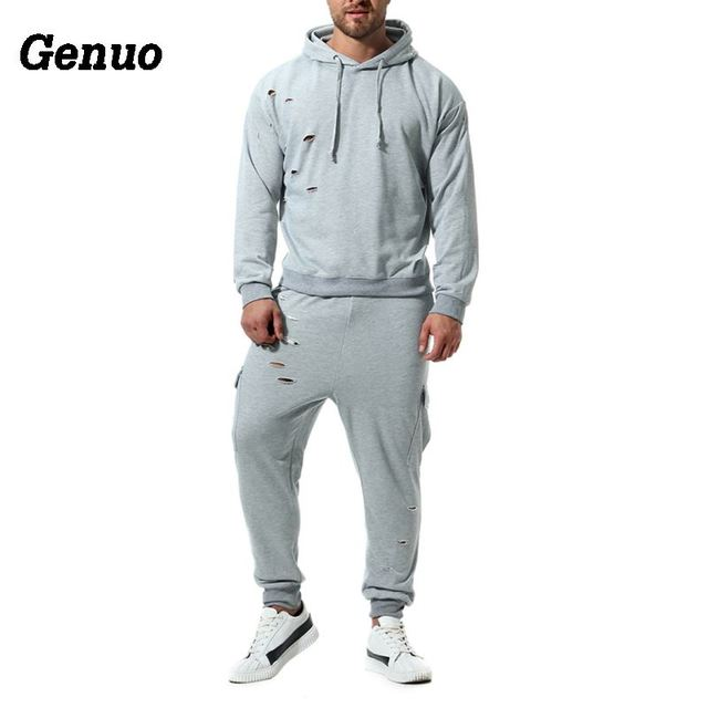 Genuo Autumn Hoodies Tracksuit Two Piece Set Male Hole Hooded Sweatshirt Sweatpants High Street Hoodies Sets Track Suit S-2XL