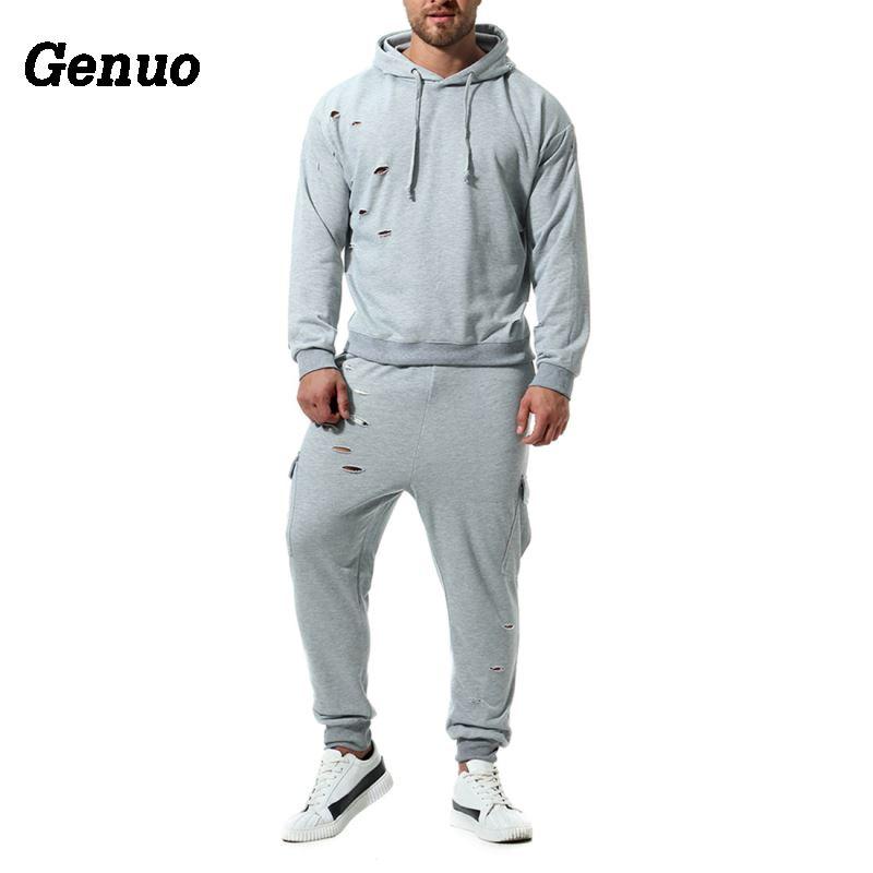 Genuo Autumn Hoodies Tracksuit Two Piece Set Male Hole Hooded Sweatshirt Sweatpants High Street Hoodies Sets Track Suit S 2XL