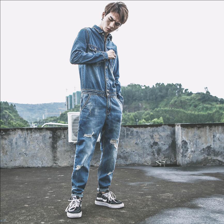 M-2xl New Japanese Denim Jumpsuit Men Autumn Locomotive Overalls Bib Pants Youth Hole Feet Jeans Hairstylist Overalls Rompers