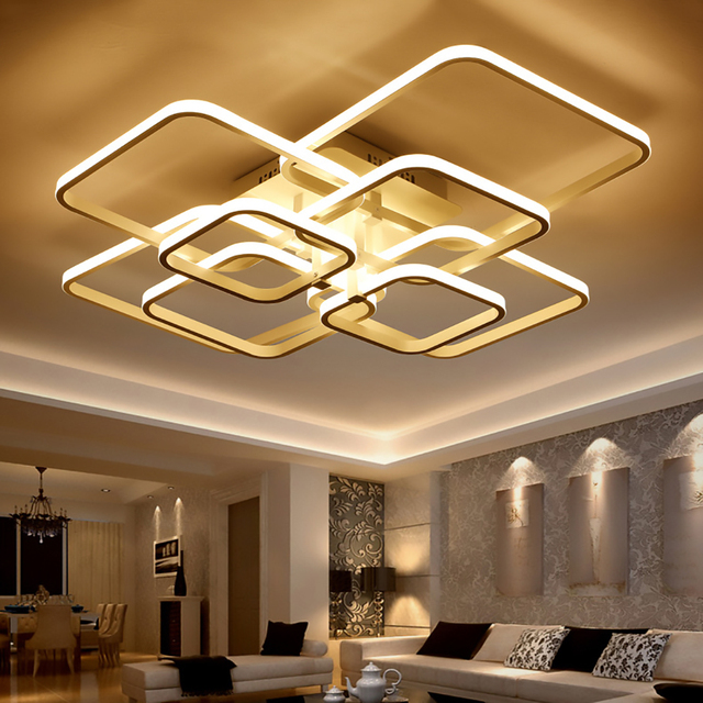 Remote Control Dimming Modern LED Ceiling Lamp Fixture For Living Room Aluminum For Dining Room Bedroom Lights Lustre