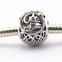 Letra F com limpar zircon prata contas Serve Para pulseiras Pandora 100% jóias de prata esterlina 925 2016 nova primavera charme atacado