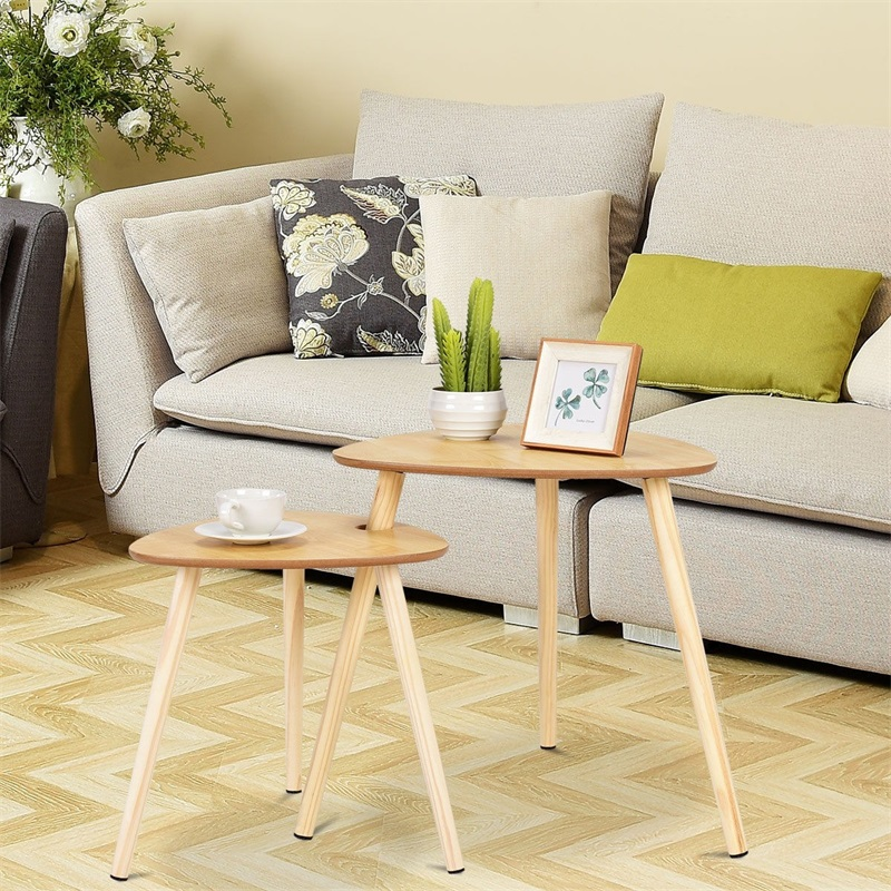 2 Pcs Nesting Sofa Side Coffee Tables With Wooden Leg Triangle Shape Soft Foamed Pads