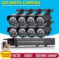 AHD 8CH Sistema CCTV DVR HDMI 1080 P salida HD 800TVL Noche Sistema de Cámaras de Seguridad Kit de Cámara de Vigilancia CCTV IP Vision no HDD