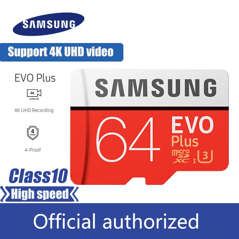 SAMSUNG EVO Plus Micro SD Memory Card 64GB MicroSDXC U3 C10 UHS-I 100MB/s TF Card 4K HD With Adapter & USB 3.0 Card Reader