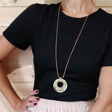 TrinketSea Trendy Crystal Pendant Necklaces For Women Rose Gold 3 Round Necklace Long Link Silver Chain 2018 Fashion Jewelry