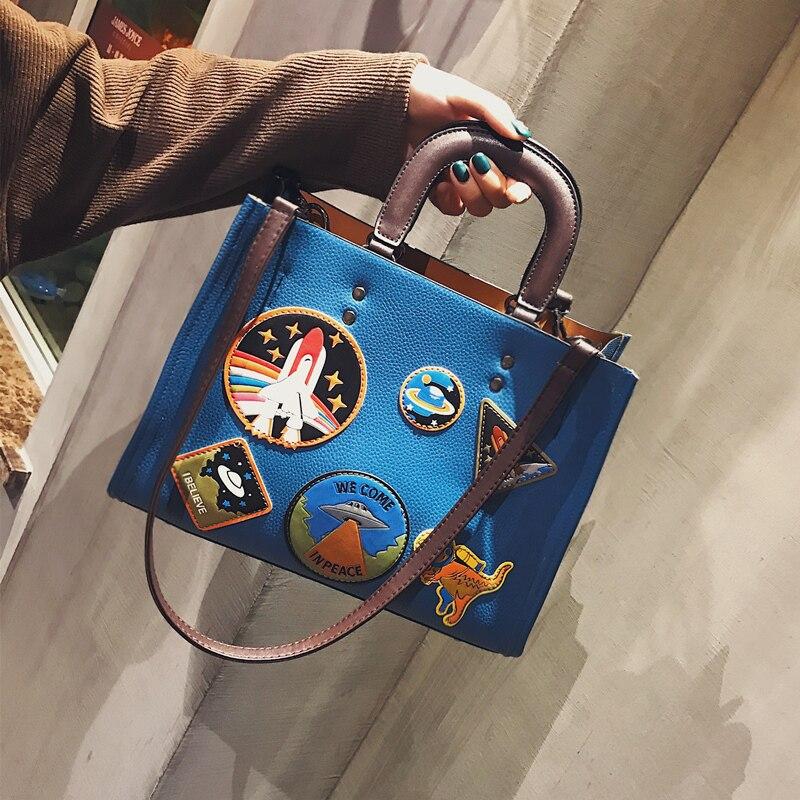 Women Rocket Space Tote Bag Pu Leather Handbag 2018 Autumn And Winter Black Blue Badge Lady Hand Bag Casual Single Shoulder Bag 3