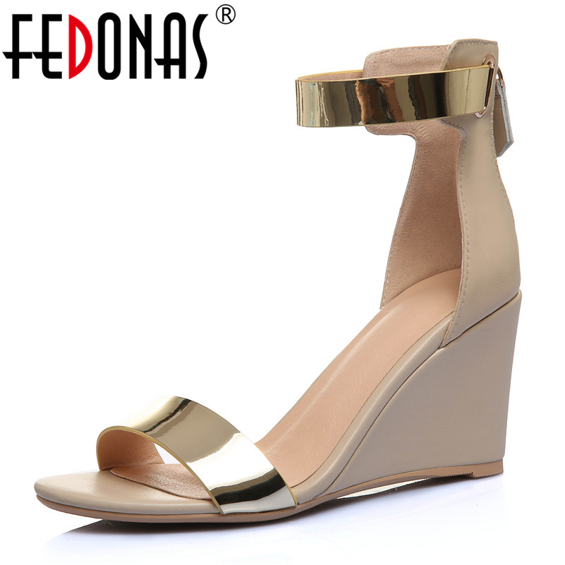 FEDONAS Sexy Women Genuine Leather Back Zipper Decoration Fashion Party Night Club Shoes Woman Elegant Rome