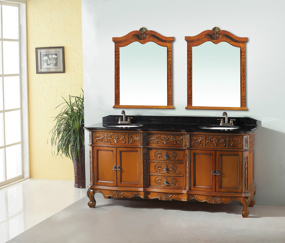 Double Sink Vanity Solid Rubber Wood-in Bathroom Vanities