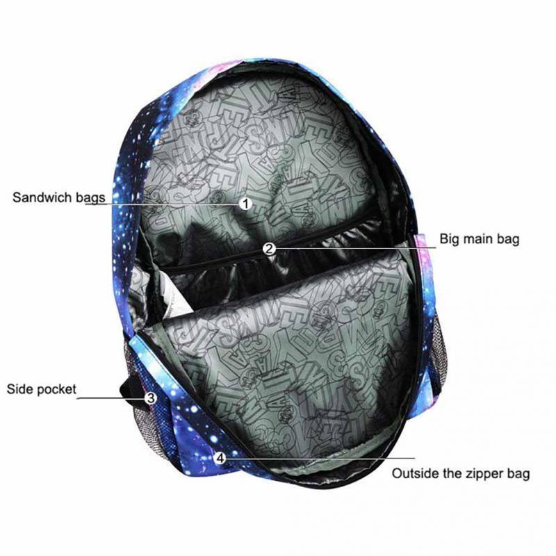 Children School Bags Galaxy Space Star Printing Backpack For Teenage Girls Boys Schoolbags USB Charger Anti Theft Lock Bookbag 5 in Backpacks from Luggage Bags