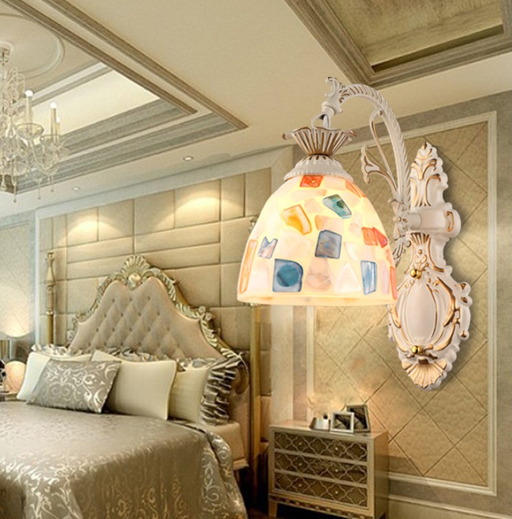 ФОТО  European style Tiffany Wall Lamps Bebroom Light for home Indoor Lighting Fixture