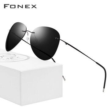 Gafas de sol sin marco de titanio para hombre, marca de diseñador ultralivianas para hombre 2018, nuevas gafas de sol polarizadas de aviación sin marco para dama