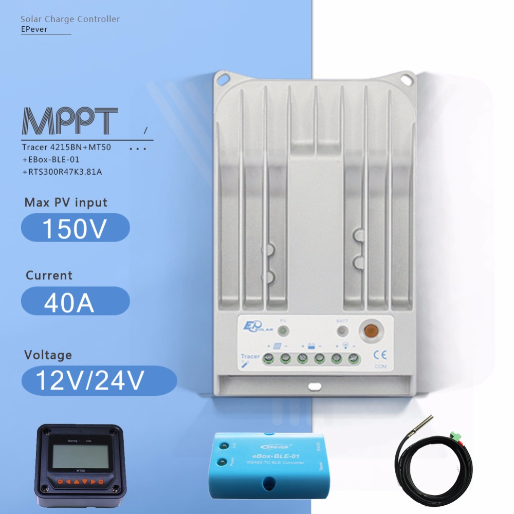 Tracer4215BN MPPT 40A Solar Charge Controller 12/24V Auto solar Regulator with MT50 Meter Ebox BLE Module and Temperature Sensor epsolar mppt tracer4215bn 40a 40amp solar controller with mt50 usb and sensor