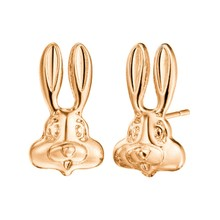 2019 Silver Color Cute Bunny Rabbit Face Stud Earrings New Brand Wedding Jewelry Lovely Animal Gold Color Earrings Baby Gift(China)