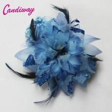 2017 Moda Crown Grampos Barrette Hairclip Hairwear Mulheres Meninas Crianças Flor Azul Decoração Do Casamento Acessórios Para o Cabelo Cabeça