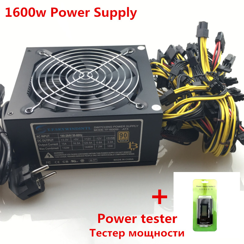 T.F.SKYWINDINTL 1600W Power Supply for mining gpu 1600W ATX Mining Power Supply 6 gpu Graphics Card  14CM antminer Fan BTC PSU  -in PC Power Supplies from Computer & Office