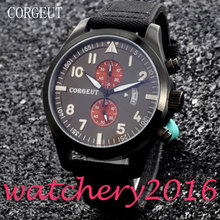 Corgeut 46mm black Dial PVD Case mixed strap 2017 top brand Luxury Newest Hot  date window Quartz Mechancial Mens Wristwatches