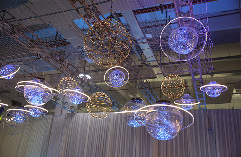 Nueva llegada brillante LED Flash estrella boda escaparate decoración espacio planeta colgante araña de adorno envío gratis - 6