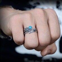 S925 Silver Jewelry Ring Retro-ancient Turquoise Opening Feather for Men Women Bizuteria Diamantes peridot Gemstone