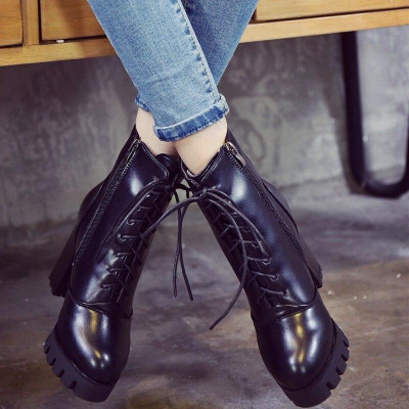 2018 Nueva De Mujeres Negro Británico Alto Estilo Martin Correas Invierno Cruzadas Botas Inglaterra Tacón Las Zapatos Gruesas EqEdFZrawn