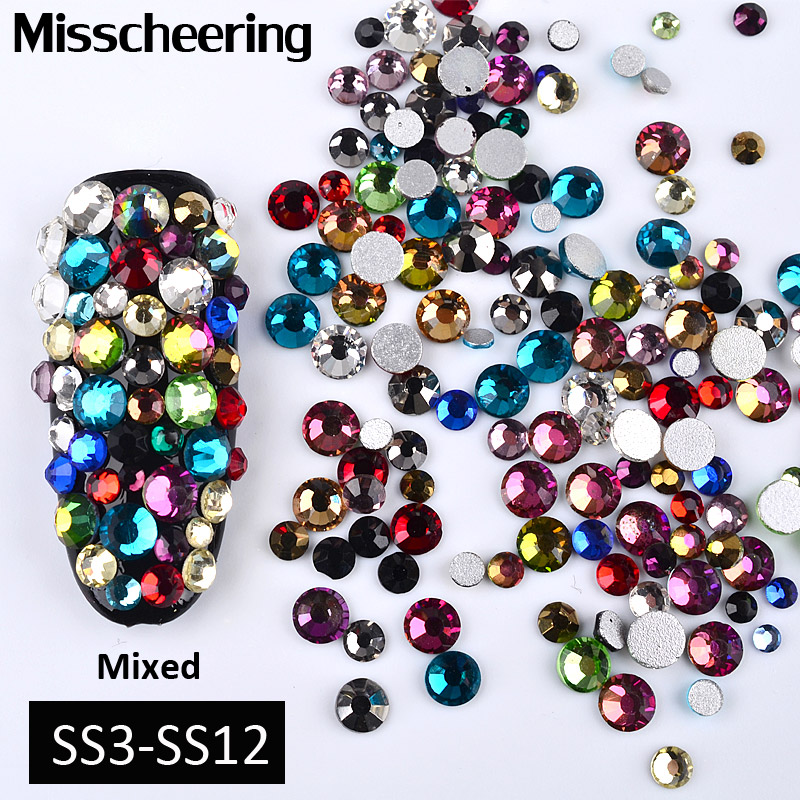 1Pack Colorful Mixed SS3-SS12 Nail Art Rhinestones Flatback Glass Crystal Non Hotfix Glitter 3d DIY Manicure Nails Decorations super shiny 5000p ss16 4mm crystal clear ab non hotfix rhinestones for 3d nail art decoration flatback rhinestones diy