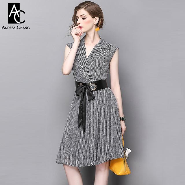 a47a40dd2b Primavera Verano pasarela diseñador mujer vestidos negro blanco tira patrón rodilla  vestido cuello en V negro