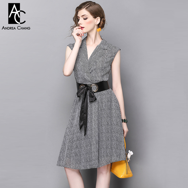 Blanco Patrón Vestidos Longitud Pista Verano Vestido Negro Tiras V Diseñador Cuello Primavera Rodilla SqZXA