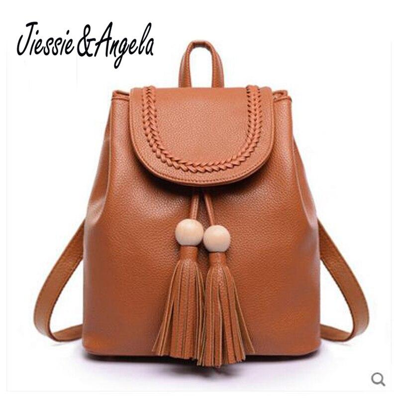 Jiessie Angela Famous Brand Girls School Bag Backpack Women Backpack Solid Vintage for Teenage Girl PU
