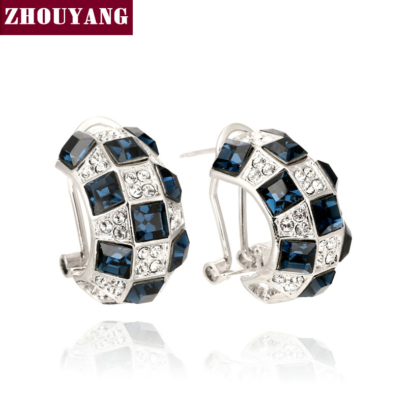 Top Quality Cystal Fashion Earrings Silver Color Earring Genuine Austrian Crystal Wholesale ZYE063 ZYE065 ZYE077