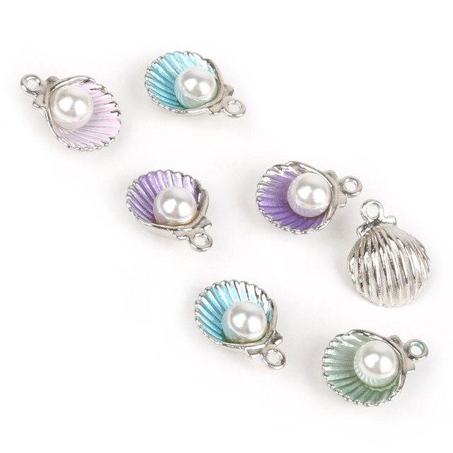 10pcs/lot Enamel Shell Alloy Charm Pendants For Women Earring Jewelry Making Fit Bracelet & Necklace DIY Jewelry Findings 4
