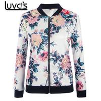 LUVCLS Floral Bomber Jacket Women Black White Coat Casual Baseball Jacket Zipper Basic Outerwear Coats Floral