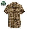 АФН JEEP Falow 3XL/4XL Плюс Размер Высокое Качество Летом Мото Короткие Рубашки Для Мужчин, 100% Чистого Хлопка клетчатую Рубашку Camisas hombres