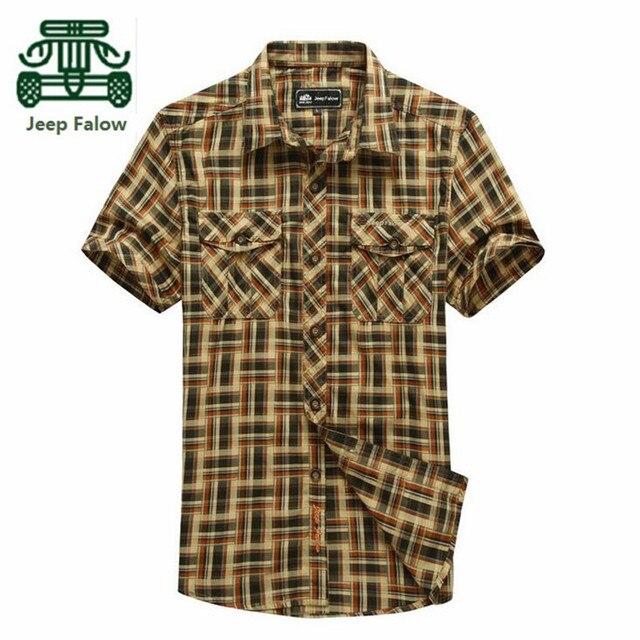 Falow AFS JEEP 3XL/4XL Plus Size High Quality Summer Motorcycle Short Shirt For Men,100% Pure Cotton Plaid Shirt Camisas hombres