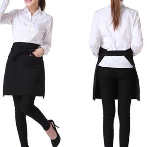 Delantal Universal ajustable, vestido de Cocina, Restaurante, Chef, delantal negro corto, delantal para camarero con bolsillos dobles