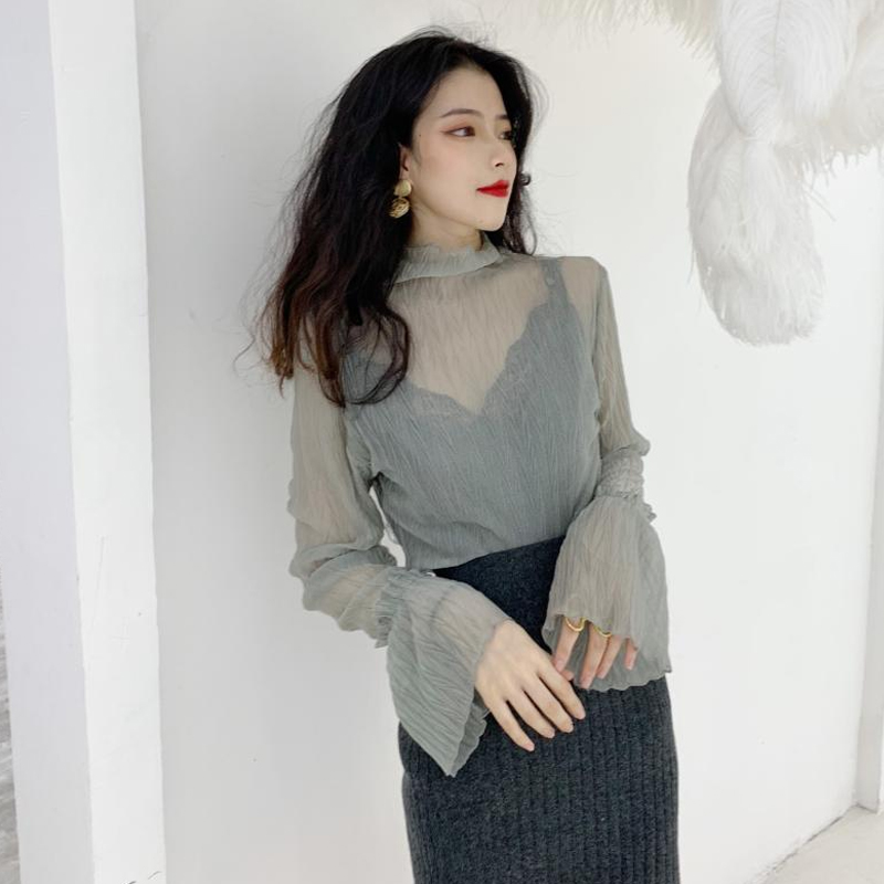 Moda Flare Blouses Mode De Tops Sexy Mesh vert Fit Mujer Chemises kaki Blusas Slim Manches Perspective Vêtements Femmes Beige Nouveau Marques noir agwq0