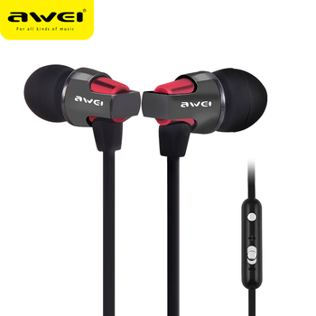 AWEI In Ear Earphone Wired Headset With Microphone Stereo Bass Headphone 3.5mm Earphones For Samsung Xiaomi Computer Earpieces