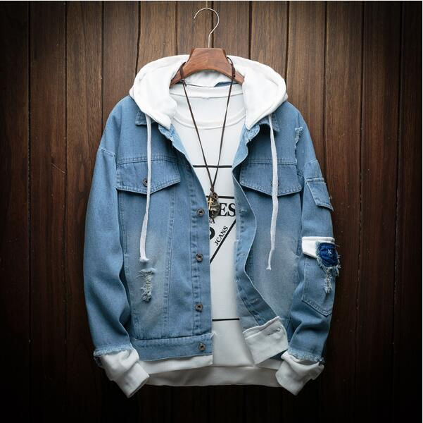 b925c38846f Detail Feedback Questions about Autumn New Hooded Denim Jacket Men Fashion  Fake Two Pieces Of Streetwear Bomber Jacket and Coat Man Cowboy Clothes  Jeans ...