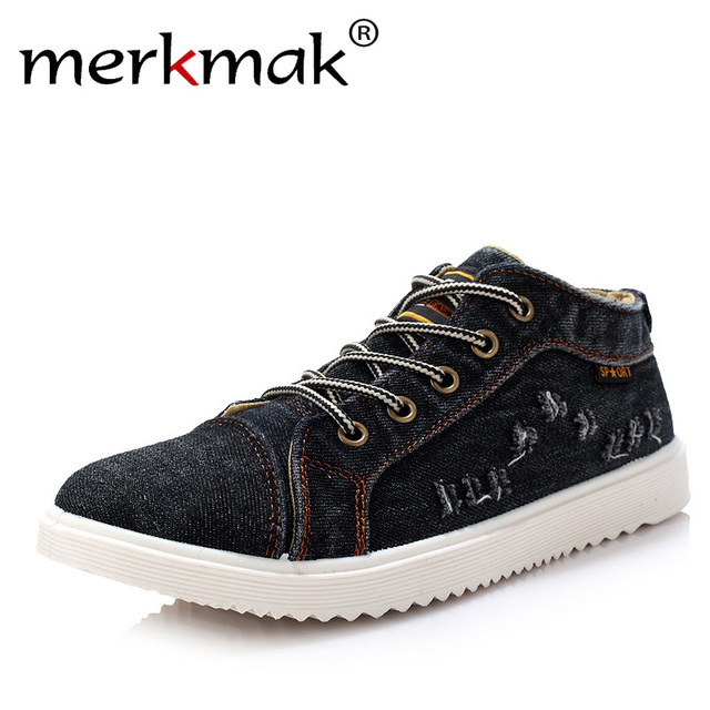 British Style Fashion Vintage Denim Jean Canvas Shoes Men High-top Casual Man Ankle Boots Flat Shoes Usual School Boy Footwear 1