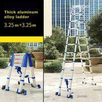 3.25M+3.25M High Quality Thickening Aluminium Alloy Herringbone Ladder Portable Household Telescopic Ladders 11+11 Steps JJS511