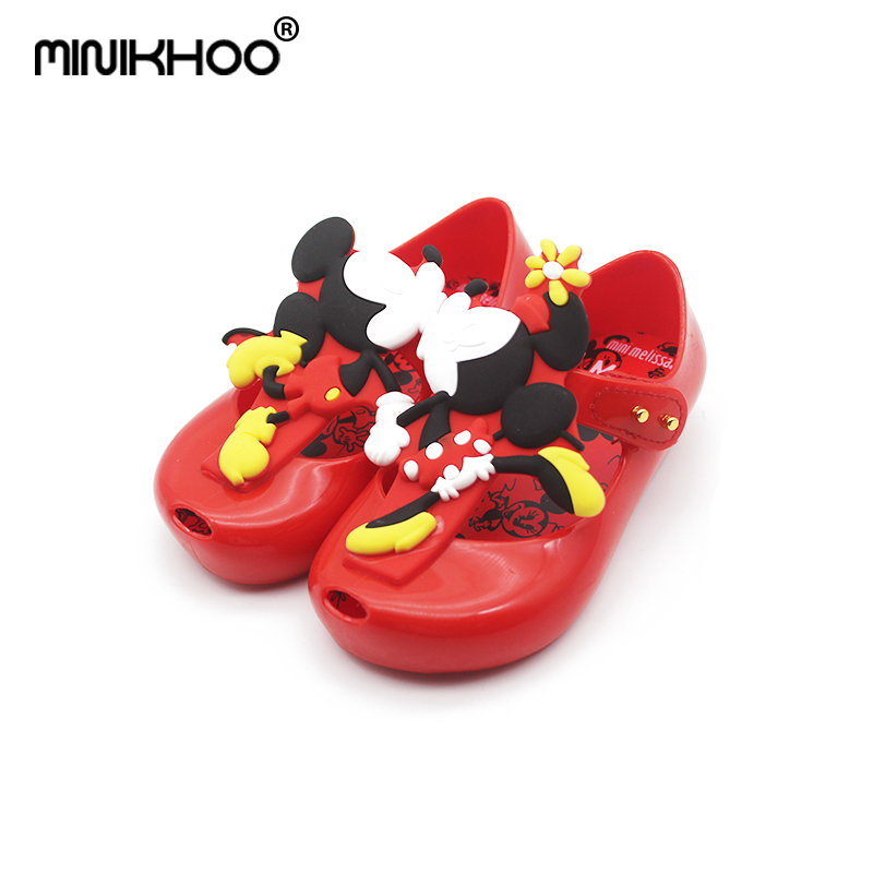Mini Melissa Classic Mickey Minnie Pattern Sandals 2018 New Twins Jelly Sandals Girl Breathable Kids Sandals Toddler 13.5CM-16CM