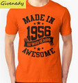 Made in 1956 , 60 Years of Being Awesome T Shirts ( 2016 Birthday ) Short Sleeve Cotton T Shirts Camisa Masculina Plus Size