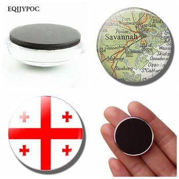 Georgia National Flag Fridge Magnet Georgian Map Glass Dome Magnetic Refrigerator Stickers Note Holder Home Decoration Souvenir 1