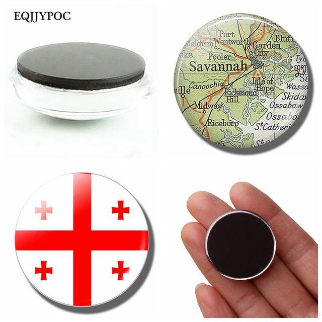 Georgia National Flag Fridge Magnet Georgian Map Glass Dome Magnetic Refrigerator Stickers Note Holder Home Decoration Souvenir 1