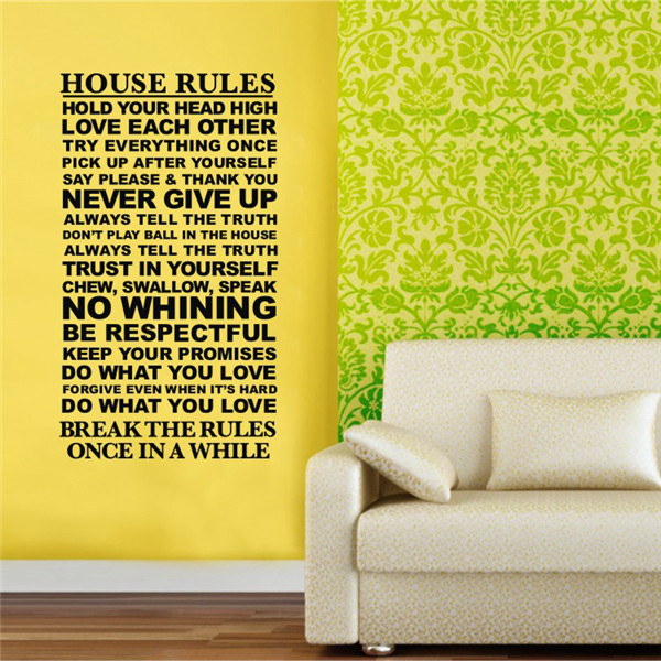 Wall Decals Quotes And Saying House Rules Wall Stickers Sentences 3D ...