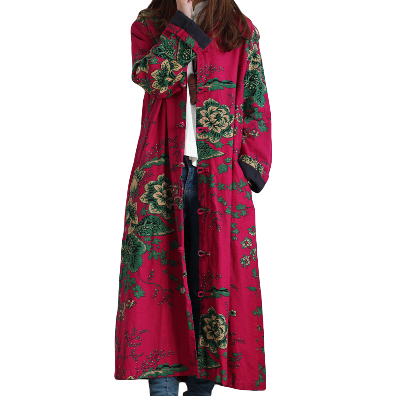 2019 Hot Selling Winter Women Fashion Vintage Embroidery Flowers Trench Coats Female Single Breasted Linen Cotton Coats