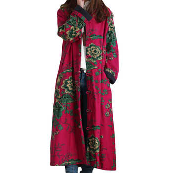 2019 Hot Selling Winter Women Fashion Vintage Embroidery Flowers Trench Coats Female Single Breasted Linen Cotton Coats - DISCOUNT ITEM  30% OFF All Category
