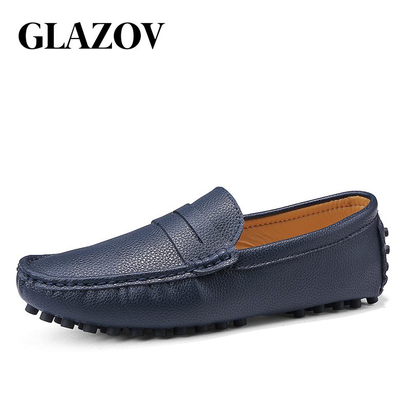 GLAZOV Italian Leather Man Loafers Designer Slip On Driving Shoes Men High Quality Luxury Brand Soft Loafers Large Size 38~50