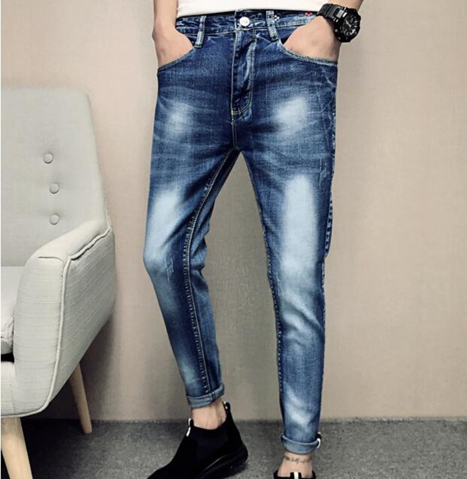 Mens Korean version of the fashion casual trim personality trend of the new style of nine-point stretch jeans / 28-32