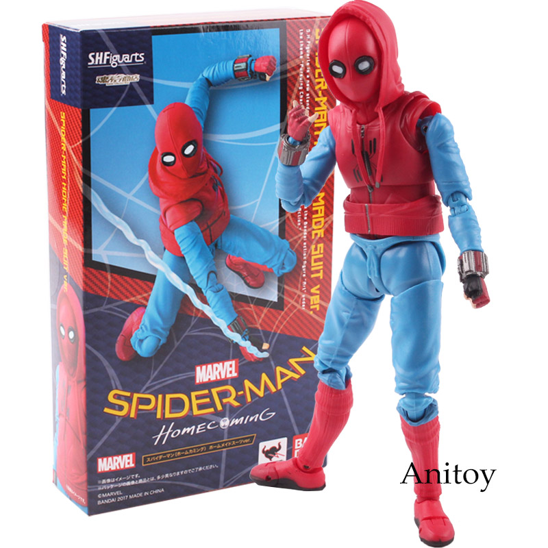 SHF S.H.Figuarts MARVEL Spider Man Action Figure Homecoming Spiderman Home Made Suit Ver. PVC Collectible Model Toy 14cm KT4800 anime figma 289 sword art online ii kirito alo ver alover kirigaya kazuto pvc action figure collectible model toy 14cm kt2969