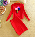 2016 Winter warm embroidery sweaters suits women ice cream sweater sets women feather fur ball sweater pencil skirt suits Girl