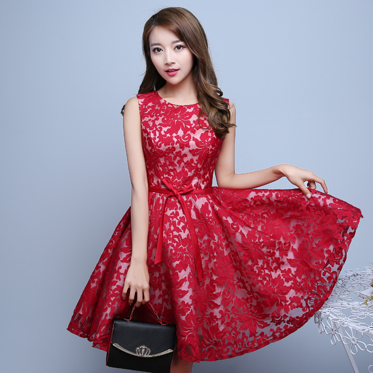 Free Shipping New Arrival Short Lace   Bridesmaid     Dress   Knee Length Party   Dress   2019